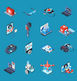 digital medicine isometric icons vector image vector image