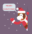 dog 2018 merry christmas santa looking out corner vector image