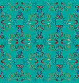 embroidery turquoise damask seamless pattern vector image vector image