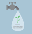 Faucet and water drops with small plant Infograph vector image