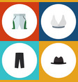 flat icon dress set of brasserie pants panama vector image vector image