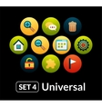 Flat icons set 4 - universal collection vector image vector image