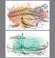 gondoliers near rialto lido watercolor venice vector image