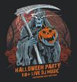 grim reaper halloween party pumpkin vector image