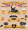 halloween banners and ribbons vector image vector image