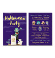 halloween party invitation with happy zombie vector image vector image