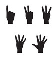 hands set hand count geture silhouette isolated vector image