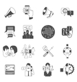 Internet forums concept icons set black vector image
