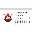 january 2021 horizontal calendar with bulls or vector image vector image
