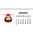 january 2021 horizontal calendar with bulls vector image vector image