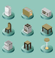 kitchen color isometric icons set vector image vector image