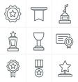 Line Icons Style Medals icons vector image vector image