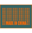 Made in China text and bar code from same words vector image