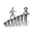 man walk up stairs to trophy career growth sketch vector image vector image