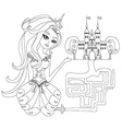 maze game the beauty princess find the way to her vector image