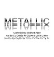 metallic silver font vector image
