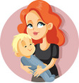mother holding her child cartoon vector image