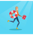 paramedic running with first aid box vector image vector image