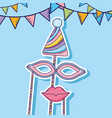party flags with hat and mask costume vector image vector image