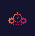 productivity icon with stopwatch and cogwheels vector image vector image