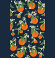 seamless pattern orange fruits with flowers and vector image vector image