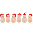 set christmas children babies in santa hats vector image