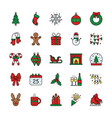 set christmas icons on white background vector image