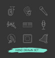 set of audio icons line style symbols with vector image vector image