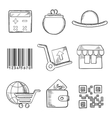 set retail and shopping sketch icons vector image