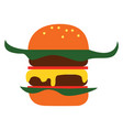 simple cartoon big burger on white background vector image vector image