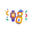smart watch and warwe bottle sport accessories vector image