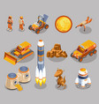 space exploration isometric icons vector image vector image