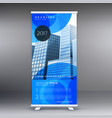 stylish blue roll up banner template design for vector image vector image