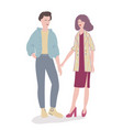 stylish man and woman standing on white background vector image