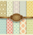 various vintage seamless patterns in pastel colors vector image