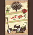 vintage colored gardening poster vector image vector image