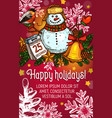 winter holidays poster with christmas garland vector image