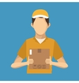 young man hold box delivery concept vector image