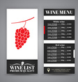 Menu Design for wine cafes restaurants vector image