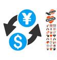 dollar yen exchange icon with love bonus vector image