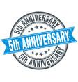 5th anniversary round grunge ribbon stamp vector image vector image