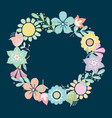 beautiful greeting card with floral wreath vector image vector image