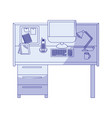 blue shading silhouette of workplace office vector image vector image