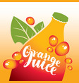 bottle with inscription orange juice vector image vector image