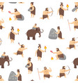 cartoon characters caveman cute people seamless vector image