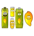 Cartoon mango juice fruit and glasses vector image vector image