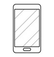 cellphone icon cartoon in black and white vector image
