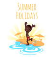 Cheerful African-American boy runs to the water on vector image vector image