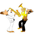 cheerful trumpeter and saxophonist vector image