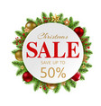 christmas sale banner with balls and fir tree vector image vector image
